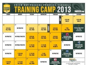 packers 2013 training camp schedule