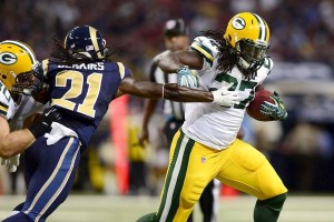 Eddie Lacy running through the Rams