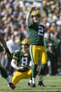 Mason Crosby was 5 for 5 on field goals vs. Detroit. He is 4-4 from 40+ yards this season.