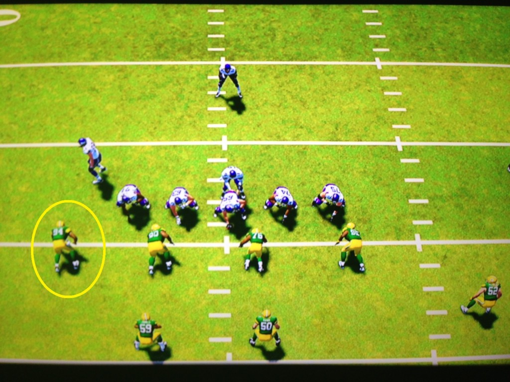 To be fair, this image is a little misleading.  It's very unlikely that the Packers would play their base defense against a 3 receiver set like the one shown by the Vikings in the image.