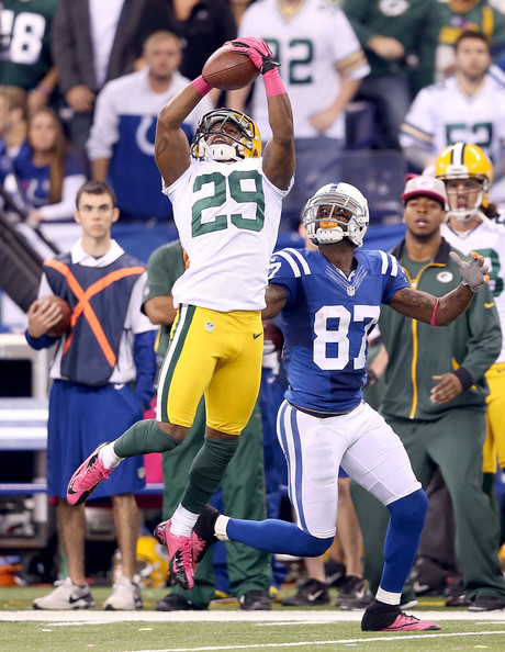 Casey Hayward intercepts Andrew Luck while playing corner on the outside.
