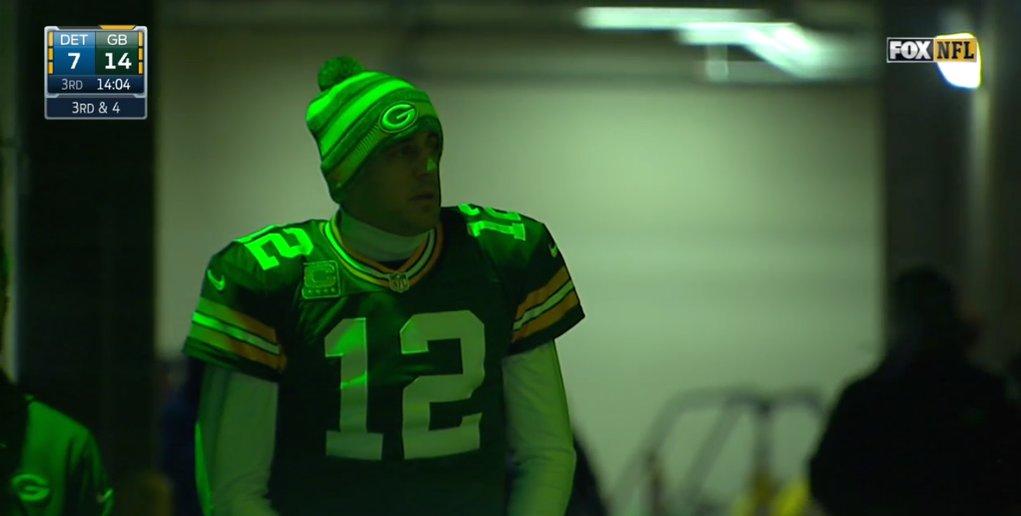 Aaron Rodgers, in the Lambeau Field Tunnel.