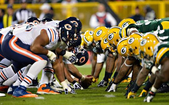 The Packers line up against the Bears