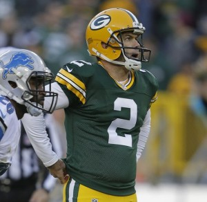 Mason Crosby Reacts after Missing a Potential Game Winning Field Goal