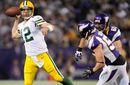 Packers QB Aaron Rodgers against the Minnesota Vikings