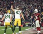January 16, 2016; Glendale, AZ, USA; Green Bay Packers wide receiver Jeff Janis (83) celebrates with wide receiver Jared Abbrederis (84) his touchdown scored against Arizona Cardinals during the second half in a NFC Divisional round playoff game at University of Phoenix Stadium. Credit: Kyle Terada-USA TODAY Sports