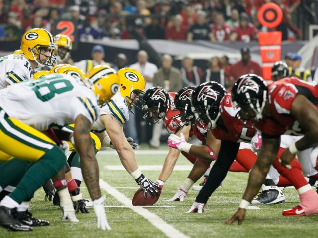 The Green Bay Packers line up against the Atlanta Falcons in a 2016 meeting.