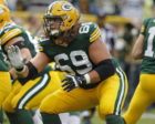 Green Bay Packers offensive tackle David Bakhtiari (69) practices his form before the Green Bay Packers-New York Jets NFL football game at Lambeau Field in Green Bay, Wisconsin, Sunday, September 14, 2014. Milwaukee Journal Sentinel photo by Rick Wood/RWOOD@JOURNALSENTINEL.COM