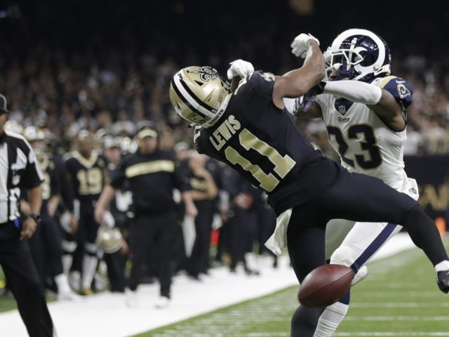 Rams CB Nickell Robey-Coleman hits Saints' WR TommyLee Lewis in the NFC Championship Game