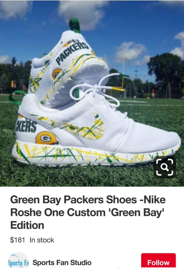 3bdb55ae2e Buried on page 5 of 6 of the Green Bay Packer-themed swag, via  sportsfanstudio.com, I found the Nike Roshe One Custom 'Green Bay' editions.